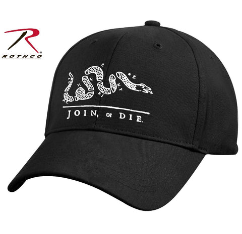 Black 'Join or Die' Patriots Baseball Cap - Rothco Cotton Adjustable Hat 9894