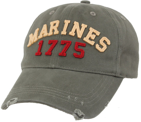 Mens Marines 1775 Vintage Fatigue Baseball Hat Military Distressed Brim Cap USMC