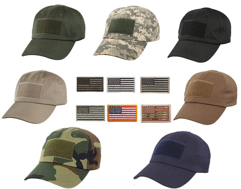 Men's Special Forces Operator Tactical Cap Hat w/ ALL 6 USA Flag Velcro Patches