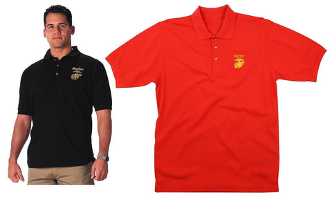 Marines Collared Polo Shirt - Gold Embroidered Military Golf Shirt -Red or Black
