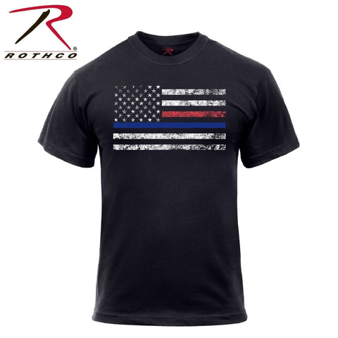 Men's Thin Blue Line & Thin Red Line T-Shirt - Fire Dept. & Law Support Tee