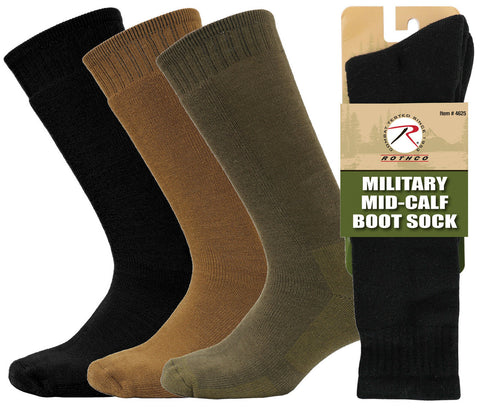Rothco Mid-Calf Military Boot Sock in Black, Coyote Brown or Olive Drab