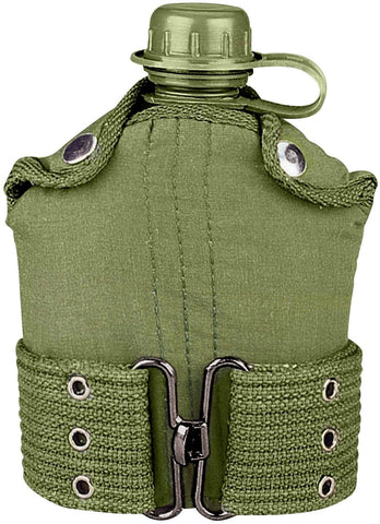 Olive Drab Plastic Canteen With Cover & Canvas Pistol Belt - GI Type Canteen Kit
