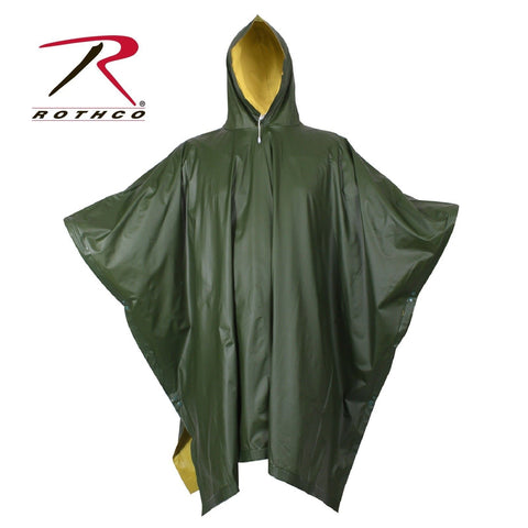 Rothco Reversible Rubberized Poncho - Olive Drab/Yellow Reversible Rain Poncho