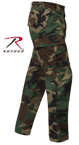 Woodland Camo Rip-Stop Cotton BDU Cargo Pants - Mens Military Camouflage  Pants b432e343b7f