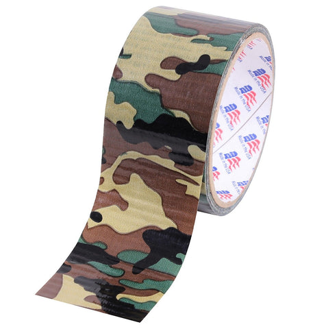 "10 Yard or 60 Yard Woodland Camouflage All Purpose 2"" Duct Tape Roll - USA Made"