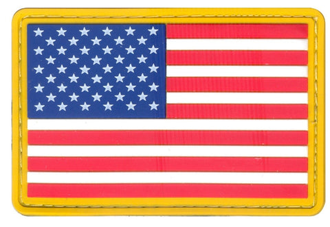 American Flag PVC Velcro Patch USA Gold Border Tactical Military Morale Patches