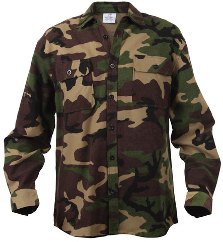 Woodland Camouflage 100% Cotton Button-Down Long Sleeve Flannel Shirt