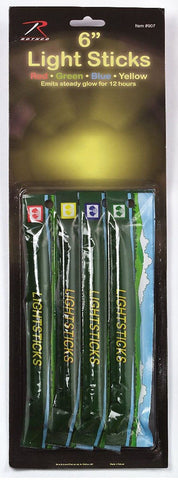"4-Pack Red Yellow Green and Blue Chemical Lightsticks - Rothco 6"" Glow Sticks"