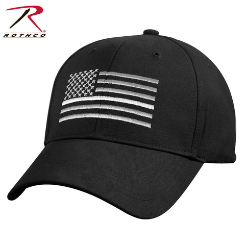 Black Mid To Low Profile Hat - Embroidered Thin White Line US Flag Cap Rothco