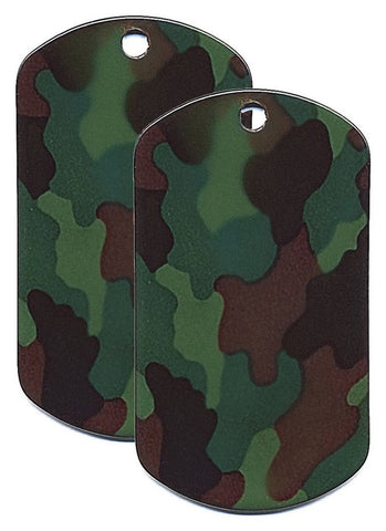 Military Camouflage Dog Tags - Woodland Camo Stainless Steel Dog Tag Set Of 2