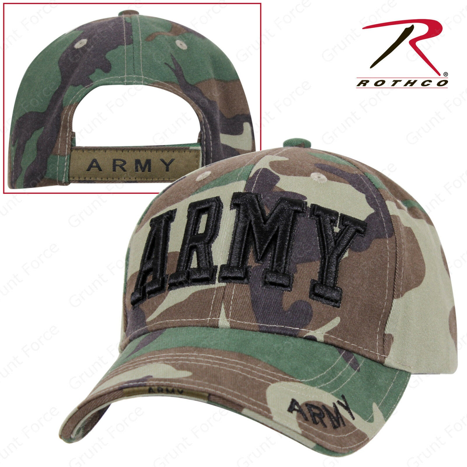 7a83bcd64 Rothco Deluxe ARMY Embroidered Mid-Low Pro Adjustable Baseball Cap ...