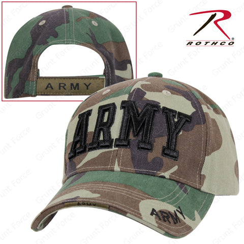 Rothco Deluxe ARMY Embroidered Mid-Low Pro Adjustable Baseball Cap Woodland Camo