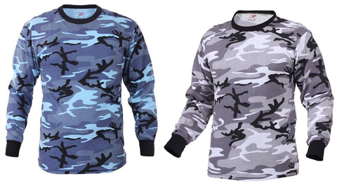 Sky Blue Camo or City Camouflage Long Sleeve Cotton T-Shirt Rothco 67790