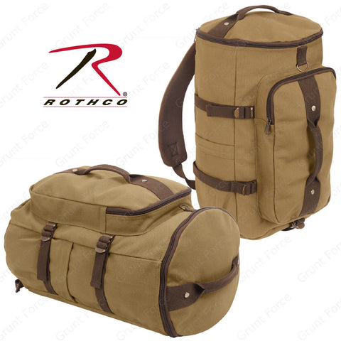 "Rothco Convertible 19"" Canvas Duffle/Backpack - Coyote & Brown Accent Travel Bag"