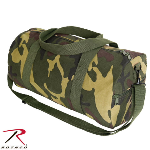 19 Inch Camouflage Canvas Shoulder Duffle Bag - Rothco Woodland Camo Gear Bag
