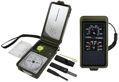 Super Compass Kit - Mirror LED Light Whistle Magnifier w/ Ruler Flint Components
