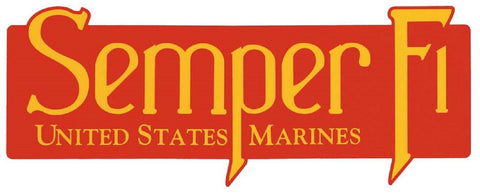 "USMC Semper Fi United States Marines Bumper Sticker - Red 11"" Outside Car Decal"