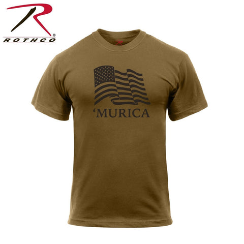 Rothco Murica US Flag T-Shirt - Men's Brown Tee With American Wavy Flag