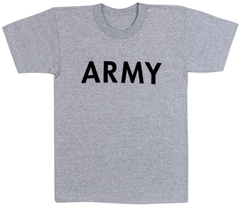 Grey Army T-Shirt Military PT Gym Undershirt XS-3XL Gray P/T Tee