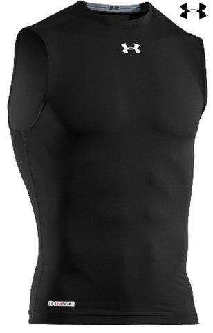 Under Armour Mens Black Sleeveless HeatGear Sonic Compression Skin-Fit T-Shirt