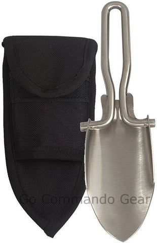 "Stainless Steel Folding Shovel With Black Polyester Sheath - 6"" When Folded"