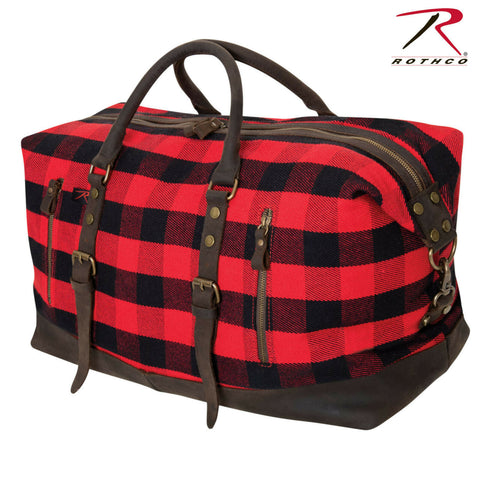 Red Plaid Extra Large Canvas Travel Bag - Rothco Extended Weekender Bag 23x11x14