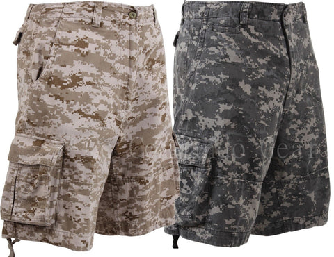 Vintage Infantry Cargo Shorts - Utility Digital Camo Shorts - Relaxed Fit