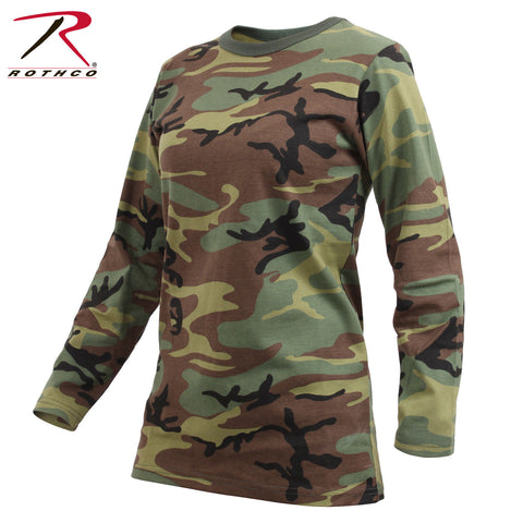 Rothco Women's Long Sleeve Camo T-Shirt - Ladies Long Length Long Sleeve Tee