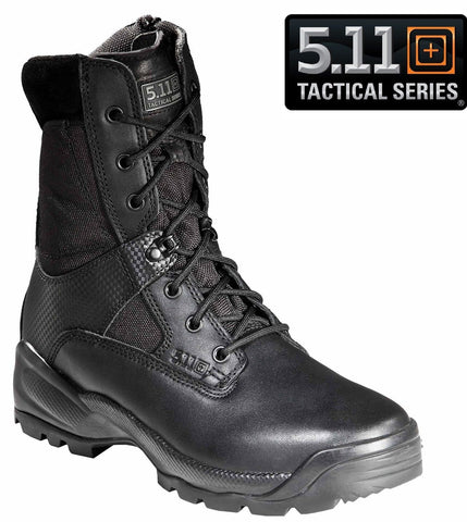 "5.11 Black 8"" ATAC Side Zip Boots - Mens Tactical Operator Field Duty Work Boot"