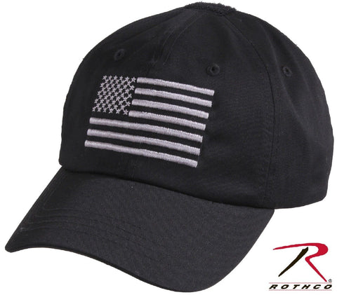 Black & Silver USA Flag Tactical Operator Cap - Embroidered American Flag Hat