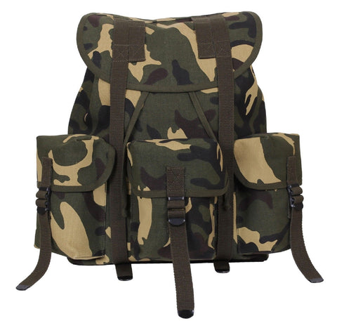 "Military Style Woodland Camouflage Mini ALICE Pack Backpack 16"" Canvas Camo Bag"
