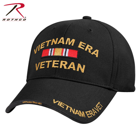 Vietnam Era Veteran Baseball Cap - Rothco Mid-Low Profile Black Vietnam Vet Hat