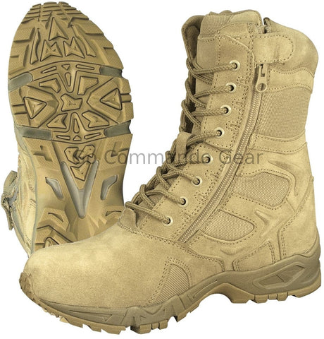 "8"" Desert Tan ""Forced Entry"" Deployment Boot - Military Side Zipper Work Boot"