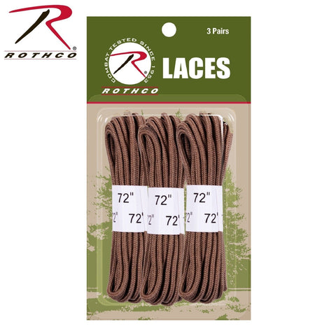"Rothco Coyote Brown 72"" Boot Laces - 3 Pack Replacement Laces w Heat Formed Tips"