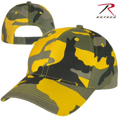 Stinger Yellow Camo Adjustable Baseball Hat - Rothco Color Camo Mid-Low Pro Cap