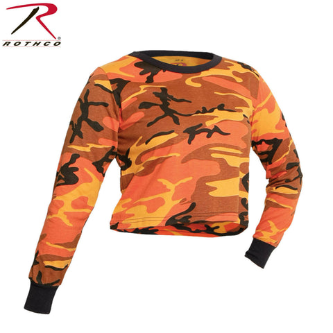 Rothco Women's Savage Orange Camo Long Sleeve Crop Top T-Shirt - Poly Cotton Tee