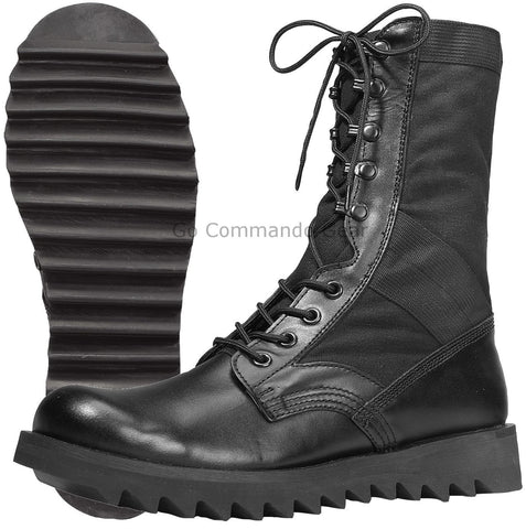 "10"" Black Ripple Sole Jungle Boot - Military Style Men's Speedlace Work Boots"