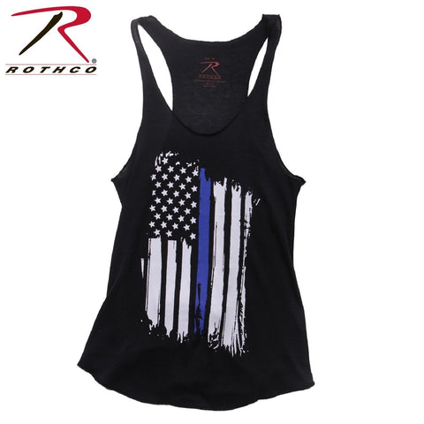 Women's Thin Blue Line Flag Racerback Tank Top - Womens Black Tank Top With TBL