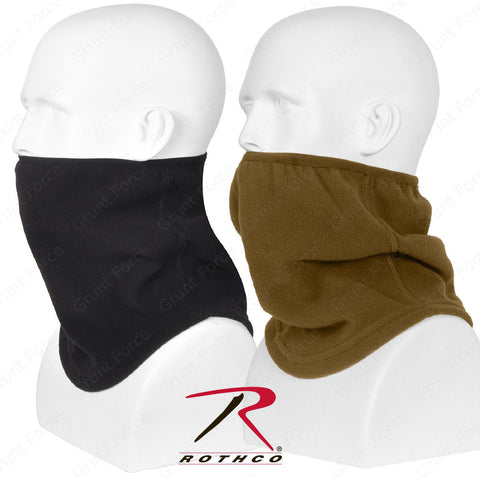 Black or Coyote Brown Neck Warmer - Polar Fleece Contoured Elastic Neck Gaiter