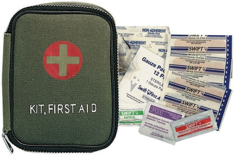 Olive Drab Military First Aid Kit with Zipper Closure