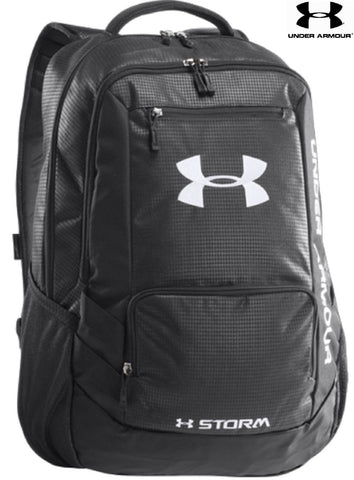 "Under Armour Hustle Storm Backpack - UA 18"" Black Versatile Everyday & Sport Bag"