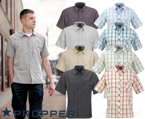 Propper Short Sleeve Casual Plaid Shirts NEW - Tactical Covert Button Up