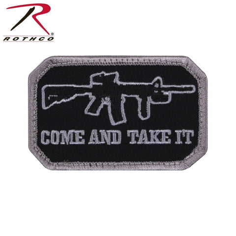 "Rothco ""Come And Take It"" Morale Patch - Black/Silver Tactical Hook & Loop Patch"