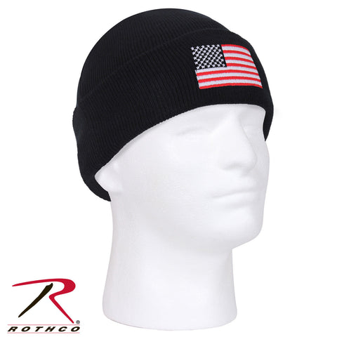 Rothco US Flag Embroidered Watch Cap - 100% Acrylic Winter Hat w/ American Flag