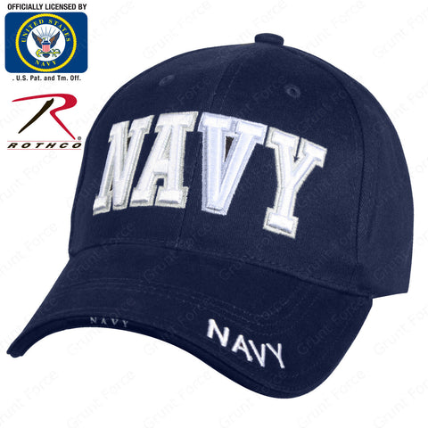 "Rothco 3-D Embroidered ""NAVY"" Hat - Navy Blue Mid-Low Profile Baseball Cap"
