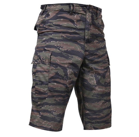 Men's Long-Length Tiger Stripe Camouflage Relaxed Fit BDU Cargo Shorts XS - 3XL