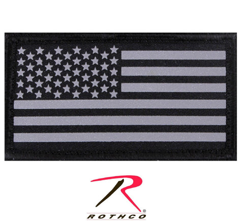 Reflective Silver & Black USA American Flag Tactical Hook Backing Morale Patch
