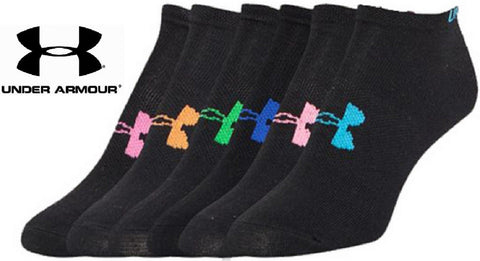 Under Armour Womens No-Show Liner Socks 6 PACK - Girls Black Sock 6-Pack SZ 7-11