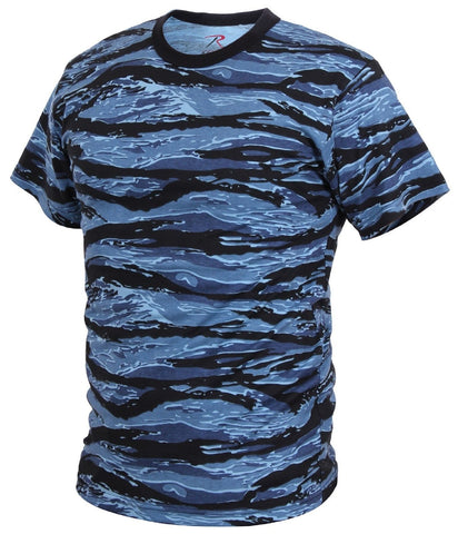Blue & Black Tiger Stripe Camouflage T-Shirt - Men's Soft Cotton Blend Camo Tees